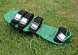 Kitclan 4 Riemen Rasenlüfter Schuhe, Rasenbelüfter Sandalen 5 cm lange Bodennägeln für Haus und Garten (1 Paar ) grün - 7