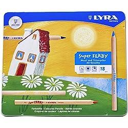 LYRA 3711180 Super Ferby - Caja de metal con 18 lápices de colores [Importado de Alemania]