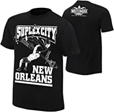 Star Footware Black Cotton WWE t Shirts for Men Brock Lesnar(Half Sleeve_Suplex City t-Shirt)
