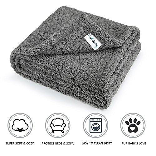 furrybaby Premium Flauschige Fleece Hundedecke,Weiche und Warme Hündchen Decke für Hund und Katze (M 75 * 100cm, Grau)