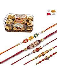 Maalpani Exclusive 05 Rakhi Set Of Bead Bracelet Rakhis With Natural Rudraksh Rakhi With 16 Pcs Ferrero Rocher...