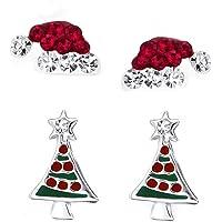 FIVE-D 2 Paar Ohrringe Weihnachten Nikolaus Mütze und Weihnachtsbaum 925 Sterling Silber im Schmucketui