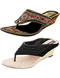 Thari Choice Woman's Wedges Heel Sandal Combo Pack (Pack Of 2)