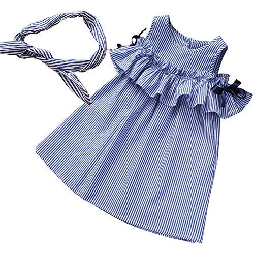 Weiß Blau Lollipop (2018 Sommer Kleid mit Stirnband , Brightup Kinder Baby Mädchen Blau und Weiß Gestreiftes Kleid, Freizeit A-Line Kleid)