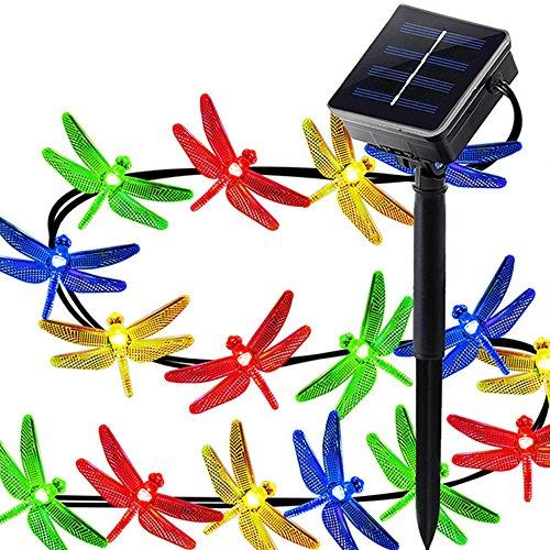 KOBWA Lichterkette,4.8m/20pcs Libelle Mehrfarben LED Solar Angetriebene Weihnachtslichter für Innen und Im Freien,Geburtstagsfeier,Garten,Halloween-Dekoration,Hochzeit,Weihnachtsbaum