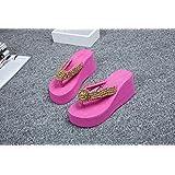JIAJIA Tendencia de las zapatillas de tacón antideslizante de PVC ojotas zapatos Casa 36 37 38 39 3 4 5 6 7 8 9 10 , rose red , 39