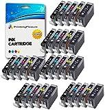 30 Compatibles PGI-5 CLI-8 Cartouches d'encre pour Canon Pixma MP500 MP530 MP600 MP600R MP610 MP800 MP800R MP810 MP830 MP950 MP960 MP970 iP4200 iP4300 iP4500 iP5100 iP5200 iP5200R iP5300 - Noir/Noir Photo/Cyan/Magenta/Jaune, Grande Capacité