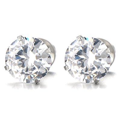 bc4388562 1 Pair 3MM Mens Ladies White Cubic Zirconia Stud Earrings Stainless Steel  Screw Back Post: Amazon.co.uk: Jewellery