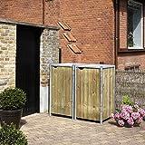 Hide Mülltonnenbox, Mülltonnenverkleidung, Gerätebox Natur // 121x63x115 cm (BxTxH) // Aufbewahrungsbox für 2 Mülltonnen 140l Volumen