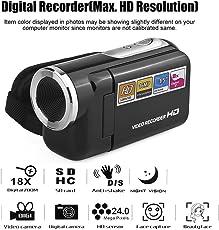 """DV180 Kamera Schwarz 16MP Mini Videokamera mit 1,5"""" TFT-Bildschirm 8X Digitalzoom"""