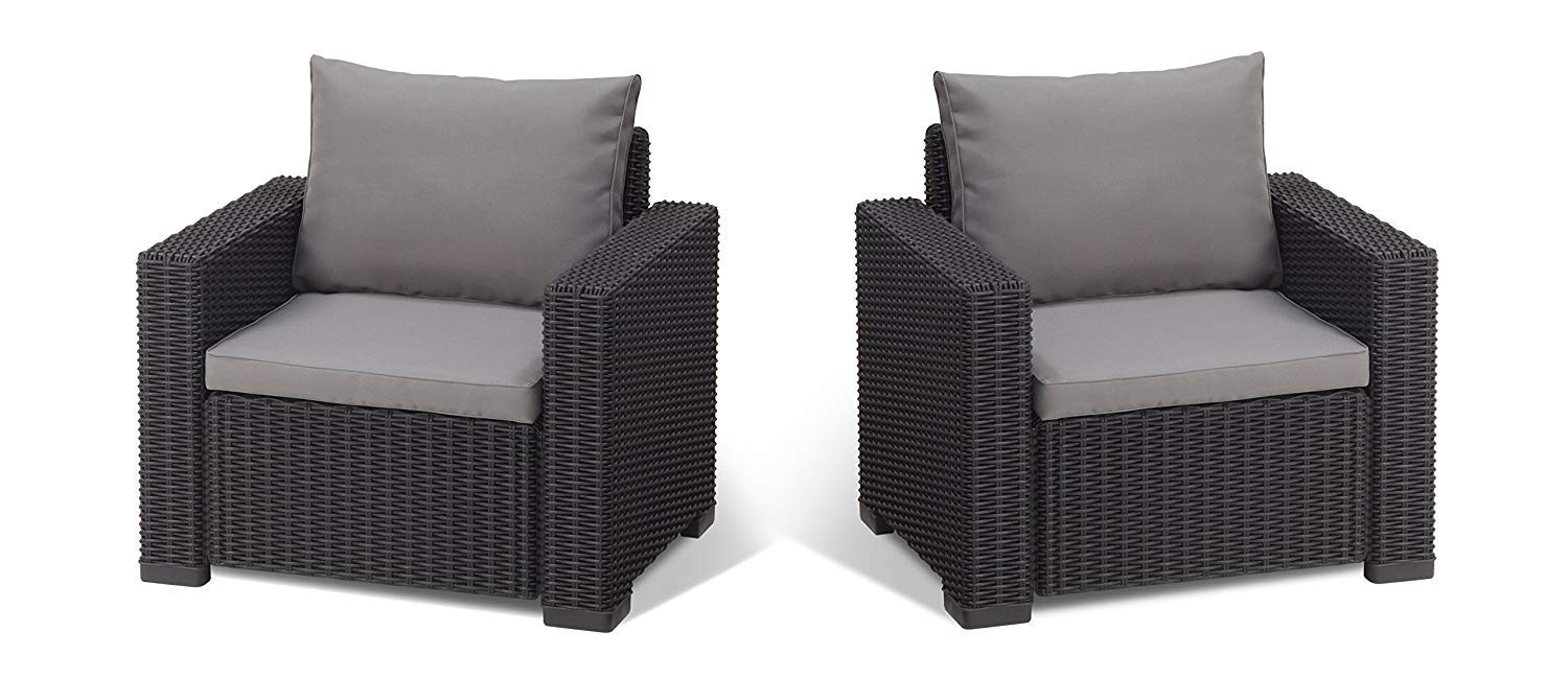 Allibert by Keter California Armchair Duo Rattan Outdoor Garden Furniture set- Cappuccino with Sand Cushions