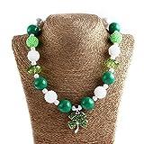 LUOEM Collier de jour de St Patrick Collier de perles de St Patrick Collier de bijoux irlandais Décoration Dress Up Chaîne de pendentif Trèfle