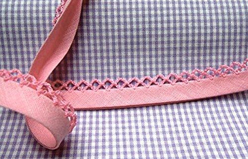 1m Schrägband mit Häkelborte uni rosa 32 (Rick Rosa Rack)