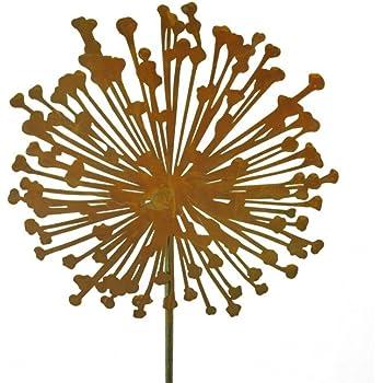 Metallmichl Edelrost Blumenstecker Allium 15cm Durchmesser (flach ...