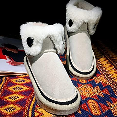 Inverno stivali di pelle neve rotonde polsini diamanti incantesimo stivali femminile cotone di colore caldo , khaki ,