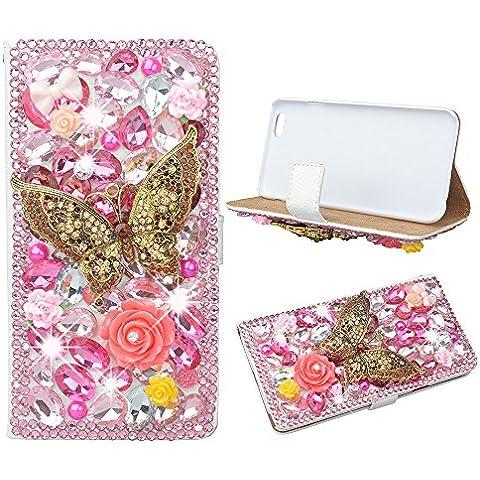 Farfalle evtech - rosa con Strass cristallo glitter-libro-art-FOLIO-PU-cuoio-finta-scatola con borsa supporto & carte di credito, Rosa pink, LG Optimus G3 - Rosa Bumble Bee