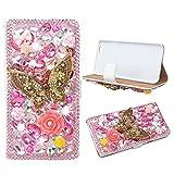 evtech (TM) della farfalla rosa strass Bling cristallo glitter foglio di stile del libro di cuoio del raccoglitore di vibrazione con la borsa del telefono & Card Slots