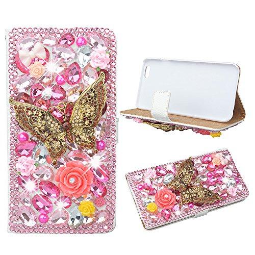Evtech (tm) Schmetterlings-rosa Strass Bling Kristall Glitter-Buch-Art-Folio-PU-Leder-Mappen-Kasten mit Handtasche Handyhalter & Karten Slots for HTC one M8 (Spitzen Abbildung 8)