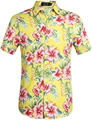 SSLR Men's Cotton Button Down Short Sleeve Hawaiian S