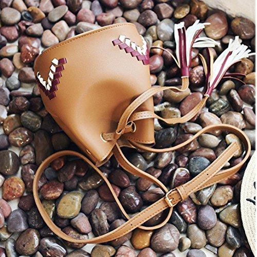 BZLine® Frauen Tunnelzug Dag Tassel Crossbody Taschen Damen Handtaschen Braun