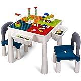 Table et Chaise pour Enfants, Table de Construction pour Enfants, 360 Blocs, Ensemble de Table de Jeu Lego, avec Espace de Ra