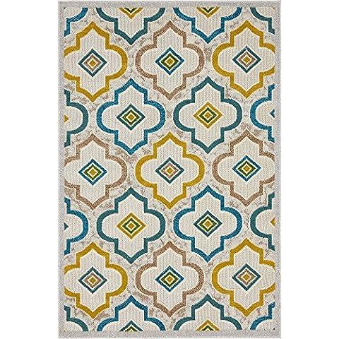 Diseño de geométrico tallada 121,92cm by 182,88(4'x 6') marfil de transición contemporáneo área alfombra