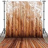 BPS5x7ft Fotohintergrund Stoff von FotografieStoffhintergrund PortraitTuchVinylHintergrund7 x 5 ft(2,1mx1,5m) braunHolzbodenimSchneeWinterBackgroudpassend fürWeihnachten-Fotografie