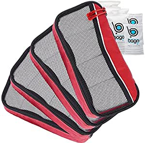 Packing Cubes 4pcs Value Set for Travel , Luggage Organizers (PackingCube 4Pcs Set, PCN-4S-Red)