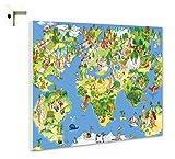 Magnettafel Pinnwand Memoboard Motiv Kinder Weltkarte Größe 60 x 40 cm