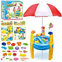 The Magic Toy Shop Kids Sand and Water Play Table with Umbrella Parasol Sunshade and Accessories Summer Garden Beach Sandpit Play Set