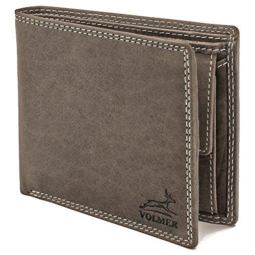 Schöne Geldbörse (Schlank einfach und stabil mit RFID Schutz! Graue Leder-Geldbörse besonders bequem und schön Usedlook Vintage #EasyBuffGrey)