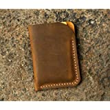 Minimalist leather credit card sleeve holder/personalised slim leather business card case wallet Gift wrap CH056V