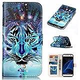 Samsung Galaxy S7 Edge Hülle, Galaxy S7 Edge Schutzhülle,Alfort Lederhülle Bunt Prägen Wallet PU Leder Tasche Case Cover für Samsung S7 Edge Smartphone (Wolf)