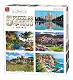 King 5208 Travel Collection 5 in 1 Jigsaw Puzzles - 5 x 1000-Piece Puzzle, 68 x 49 cm, Posters Included