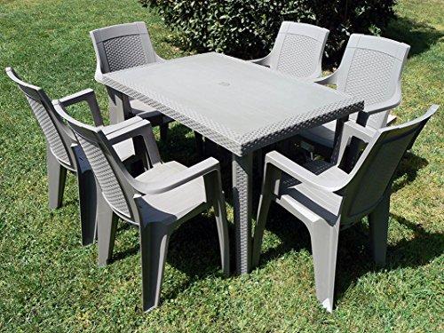 Set maddy  - set da giardino tavolo con 6 sedie tortora