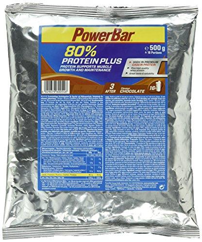 Casein Whey Protein-Pulver von Powerbar | Protein Plus 80% | Eiweißpulver ohne Farbstoffe und Aspartam | Protein Shake leckerer Geschmack und gute Löslichkeit – 500g SCHOKOLADE