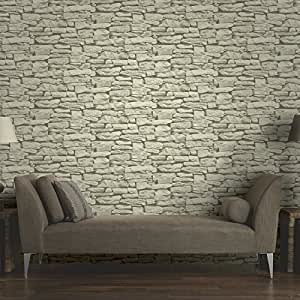 Arthouse VIP Moroccan Stone Wall Sand Brick Effect Photographic Wallpaper 623008 by Arthouse