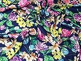 Floral Print Seidiger Satin Kleid Stoff, Marineblau,