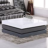 UEnjoy HIGH GLOSS White & Gray Square Storage Rotatable Coffee Table With 3 LAYERS