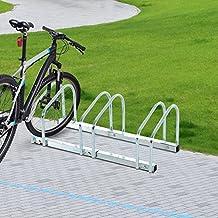 Aparcamiento 3 Bicicletas Soporte Aparcar Bici Suelo y Pared Garaje Almacenamiento Acero (3 Bicicletas)