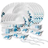 Larah by BOROSIL Opalware Glass Dinner Set - 33 Pieces, (White and Blue)