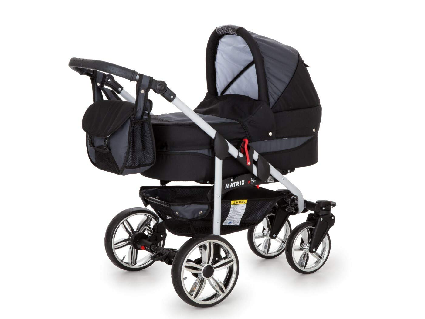 Travel System Stroller Pram Pushchair 2in1 3in1 Set Isofix X-Car by SaintBaby Black & Check 3in1 with Baby seat SaintBaby 3in1 or 2in1 Selectable. At 3in1 you will also receive the car seat (baby seat). Of course you get the baby tub (classic pram) as well as the buggy attachment (sports seat) no matter if 2in1 or 3in1. The car naturally complies with the EU safety standard EN1888. During production and before shipment, each wagon is carefully inspected so that you can be sure you have one of the best wagons. Saintbaby stands for all-in-one carefree packages, so you will also receive a diaper bag in the same colour as the car as well as rain and insect protection free of charge. With all the colours of this pram you will find the pram of your dreams. 8