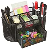#6: FastUnbox Mesh Desk Organizer Pencil Holder 8 Compartments with Drawer Desk Tidy Pen Stationary Holder(Only Black Color)
