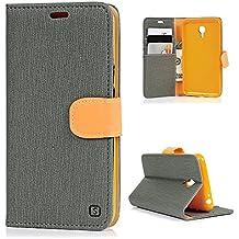 Meizu M2 Note Funda Libro de Paño Leather Cuero - Mavis's Diary Funda para móvil Carcasa Con Flip case cover,Cierre Magnético,Función de Soporte,Billetera con Tapa para Tarjetas-Color de gris
