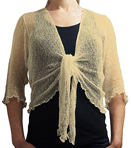 Damen Crochet Strecken Fisch-Netz Boleroshrug Mutterschaft Krawatte an der Taille Cardigan (Eine Größe passt DE 34-48, Cream) (Damen Crochet)
