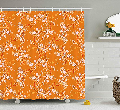 Floral Shower Curtain, Vivid Blooming Tree Branches Spring Flower Petals Happy Essence Beauty Pattern, Fabric Bathroom Decor Set with Hooks, 60x72 inches, Orange Lilac (De Tree Friends Happy Halloween)