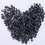 Micro Rings Micro Anneaux pour Extension Pose a Froid [Silicone & Aluminium] [500PCS] [ Noir Foncé ]