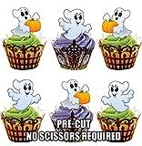 Vorgeschnittene Halloween Geister - Essbare Cupcake Topper / Kuchendekorationen (12 Stück)