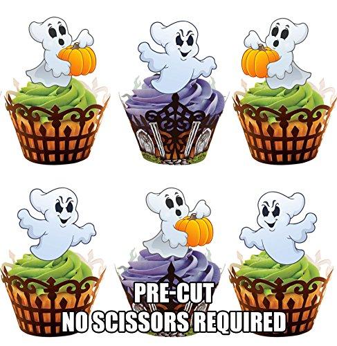 oween Geister - Essbare Cupcake Topper / Kuchendekorationen (24 Stück) (Halloween-lebensmittel Streich Ideen)
