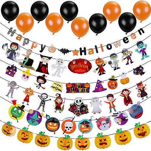 Lictin Conjuntos de Decoraciones de Fiesta de Halloween Paquete de 6 decoración de Banner de Papel de Halloween y 20 Globos incluidos Happy Halloween Pumpkin Bat Fantasma Brujas Spider Skull Grimace